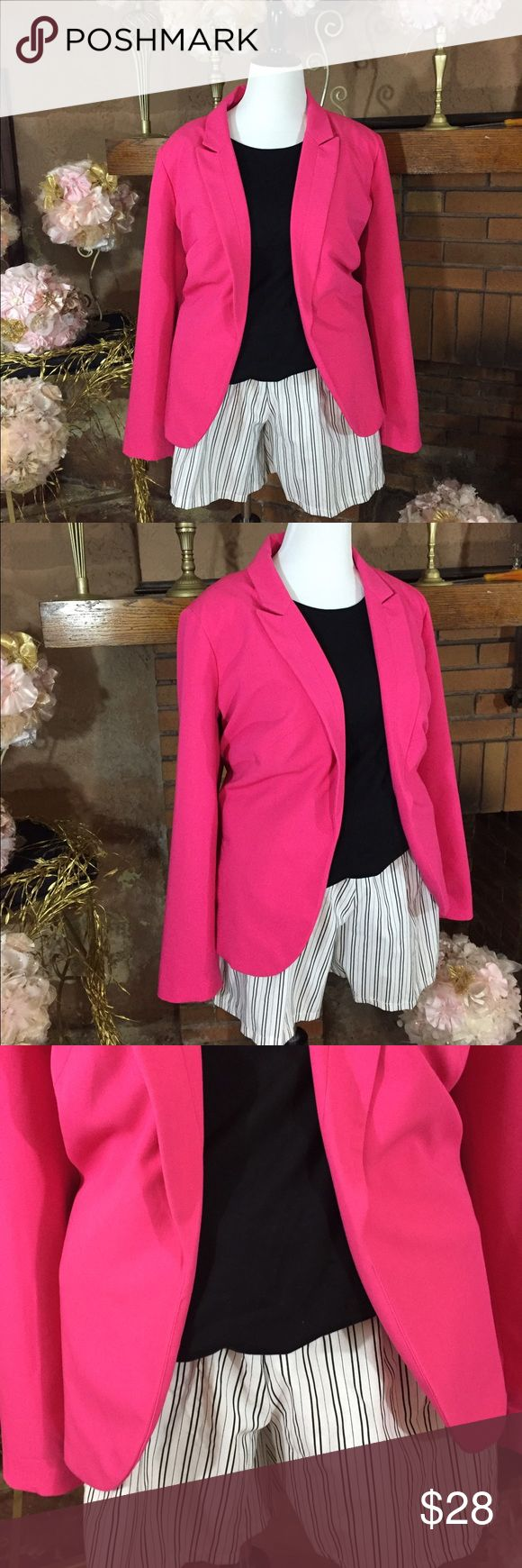 Worthington blazer sz 3X and shorts sz 24 Worthington pink blazer size 3X in like new condition. Croft and Barrow short sleeve crew neck black t-shirt size 3X new with tags. Separate Issue Woman black and white shorts sz 24 with elastic waist. 6.5in inseam. Like new condition. Please check out all pictures for best description of the items. Ask me any questions and happy shopping! Worthington Jackets & Coats Blazers