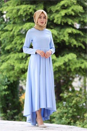 İroni - Önü Kısa Arkası Uzun Tesettür Elbise - 5071 - Buz Mavisi