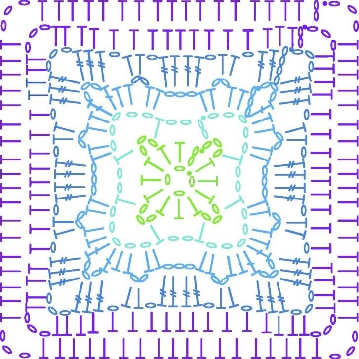 Motif 3 chart, Violet, on the LoveCrochet blog