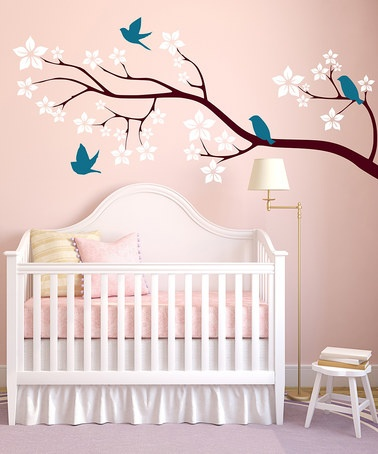 Take a look at this Teal & White Birds on Blossom Branch Wall Decal Set by DecorDesigns on @zulily today!