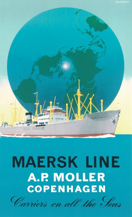 "The Danish artist Aage Rasmussen made his breakthrough with a poster for the Danish State Railways in the late 1930's and he was well respected when he was contracted to do a Maersk Line poster in 1948. ""Carriers on all the Seas"" was the Maersk Line catch phrase at the time and Aage Rasmussen made point of that by showing The Seven Seas as an effective background to OLGA MÆRSK, a new and modern cargo liner in the Maersk Fleet."