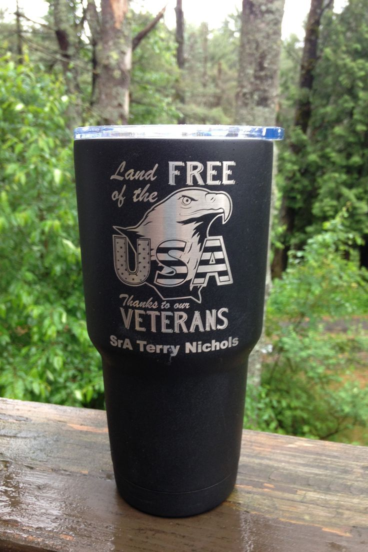 Land Of The Free Military Cup Personalized Patriotic Gift For Veterans Engraved Gifts By ItsPersonalEngraving On Etsy