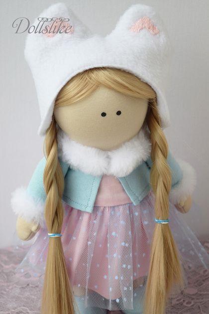 Коллекционные куклы ручной работы. Ярмарка Мастеров - ручная работа. Купить Интерьерная кукла. Handmade. Голубой, детям, Кукольный трикотаж