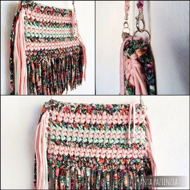 Un bolso de flecos con 3 tipos de trapillo | Santa Pazienzia