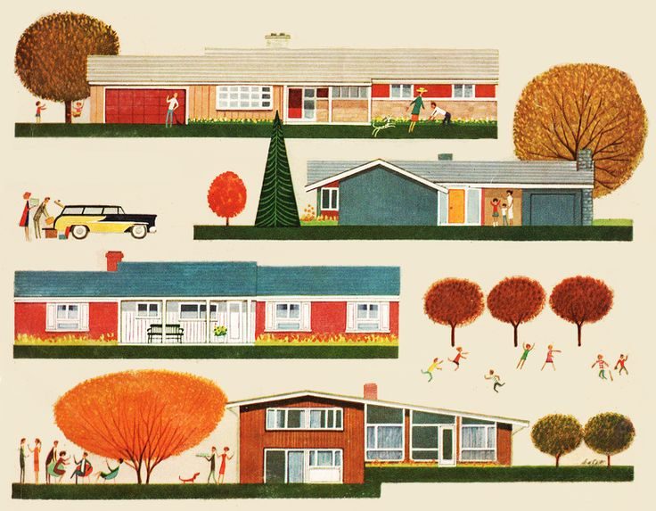 Suburbia - detail from cover Better Homes & Garden - September 1958.#midcentury #modern #illustration