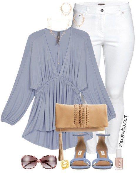 5ba9528a6fc Plus Size Plunging Empire Waist Top - Plus Size Summer Casual Outfit - Plus  Size White Jeans - Plus Size Fashion for Women - alexawebb.com