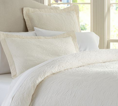 All white, done right: Potterybarn, Floral Matelasse, Rustic Luxe, Duvet Covers, Children, Valerie Floral, Pottery Barn, Bedroom