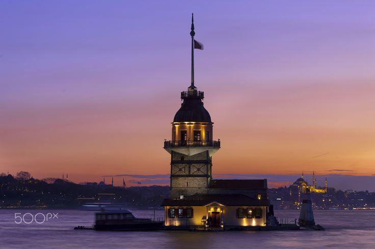 Bosphorus sunset. Maiden's tower and the Golden Horn. Istanbul.