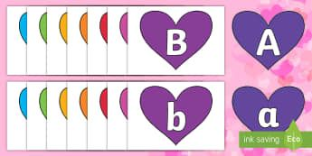 A Z Alphabet on Hearts (Multicolour) Cut-Outs - EYLF, Valentines Day, Alphabet display,Australia, hearts, lettering, alphabet, upper case, lower cas