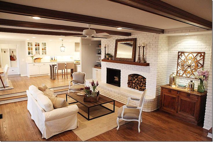 Joanna Gaines Painted Brick Ceiling Beams White Fan To