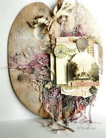 ScrapBerry's:  Amazing altered mixed media wood palette made by Aida Domisiewicz with the Antique Shop collection.