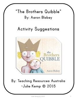 The Brothers Quibble by Aaron Blabey is this years Australian National Simultaneous Story time book. National Simultaneous Story time is on Wednesday 27th May 2015 at 11am. This resource is perfect to go along side the book as it includes literacy activities including words to fingerplays and songs, numeracy activities, art and craft suggestions, discussion questions, touches on themes including family and feelings and much more... * Celebrating National Simultaneous Story Time (p. 4)…