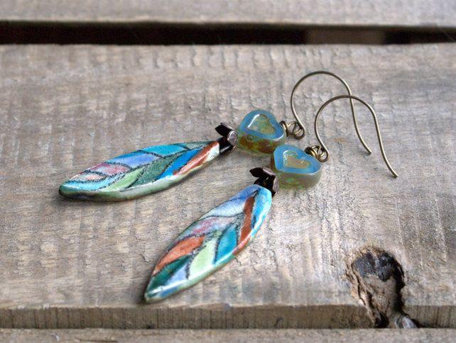 Colourful Ceramic Leaf Earrings £20.00