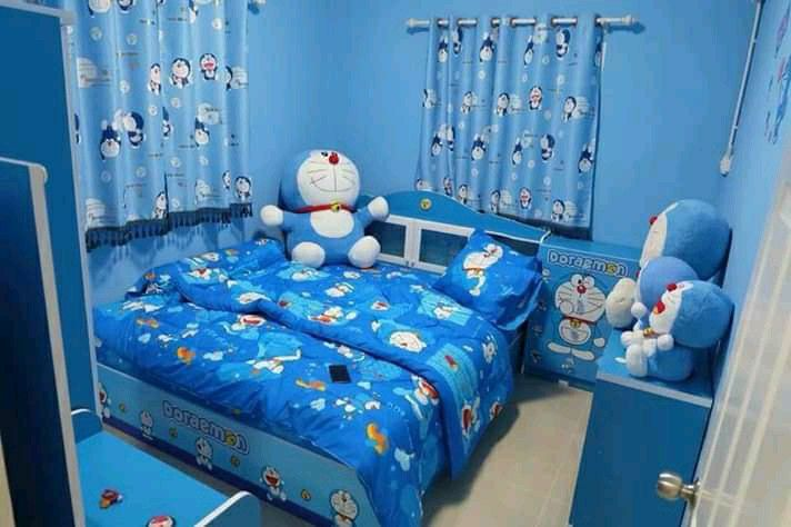 Pin Oleh Ssyyaa Di Blue 3 Kamar Tidur Biru Ide Kamar Tidur Ide Dekorasi Kamar New small doraemon room kamar