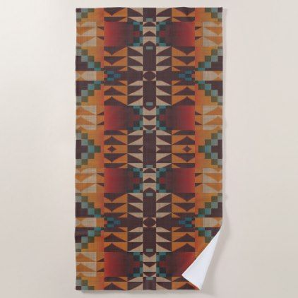 Orange Brown Red Teal Blue Eclectic Ethnic Look Beach Towel - western style diy unique customize stylish