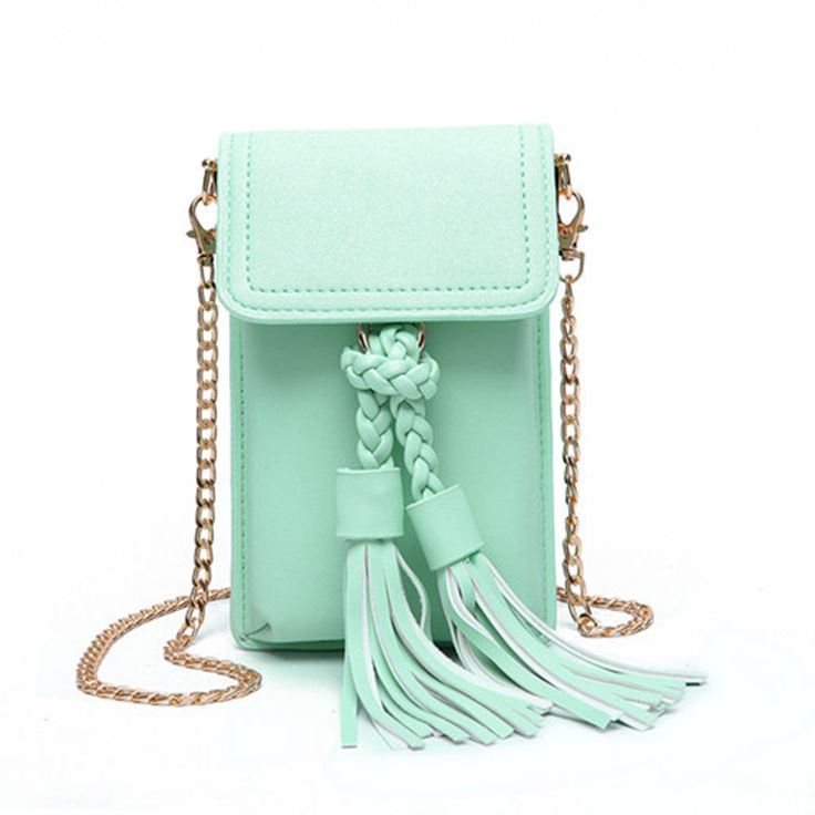 lady Tassel fresh phone bag phone7 6s cell phone pocket small Shoulder Handbag  fashion Mini Messenger bag  green pink