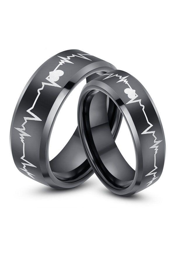 black heart matching tungsten wedding bands