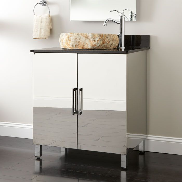 Inspiration Web Design Make the Mercutio Stainless Steel Vanity a statement piece for your bathroom This vanity is made of stainless steel and features leg adjusters for uneven