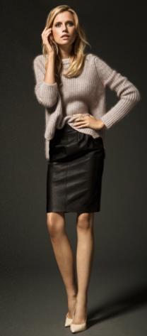 Black leather skirt- Massimo Dutti