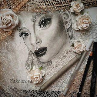 http://yanaru.blogspot.com/ art portrait of beautiful girl made with pencil and decorate with flowers