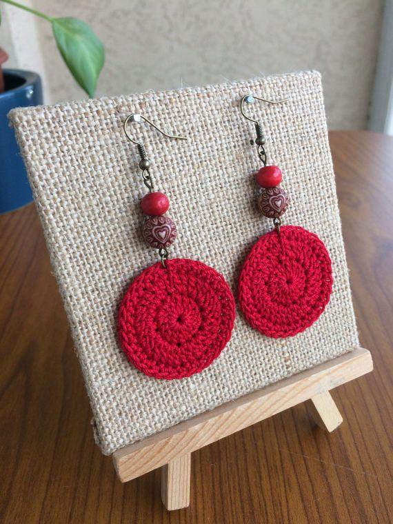 Red Crochet Earrings Crochet Earrings Round Earrings