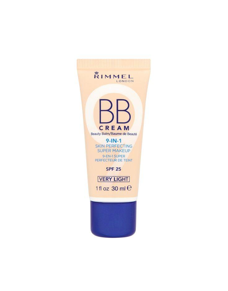 9-in-1 Skin Perfecting Super Make Up -BB-Creme von Rimmel London . Leichte Formel zur Grundierung, Mattierung und Feuchtigkeitspflege sowie zur Reduzierung von Poren, zum Abdecken von Makeln und zum Schutz der Haut mit LSF 25.
