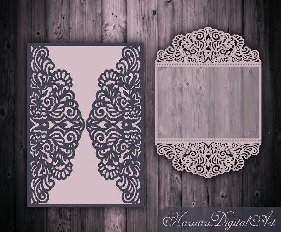 Laser cut Wedding invitation 5x7 Gate fold от NarisariDigitalArt