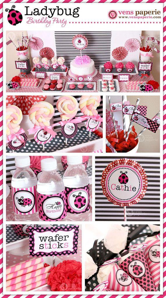 Pink Lady Bug Birthday Party  DIY PRINTABLE Water by venspaperie, $5.00