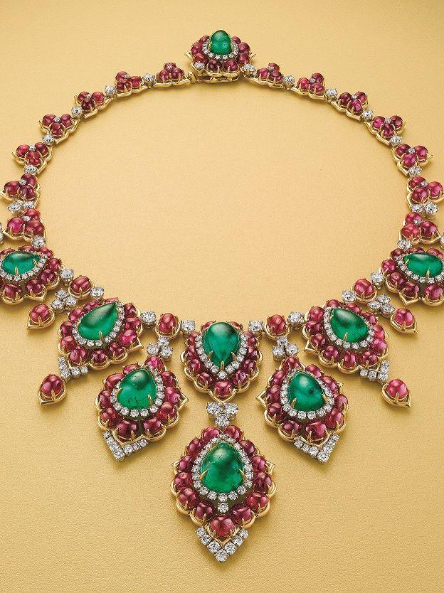 Vintage Bulgari Necklace, 1970s Emerald, Ruby and Diamond Necklace by Bulgari #ChristiesJewels