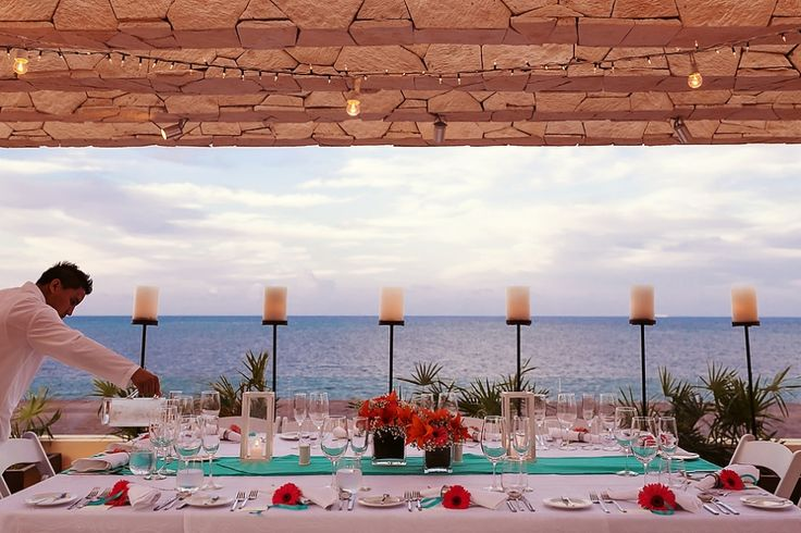 Modern wedding reception with ocean view at the Royalton Riviera Cancun Hotel. The Royalton Luxury experience, Riviera Maya Wedding Photography