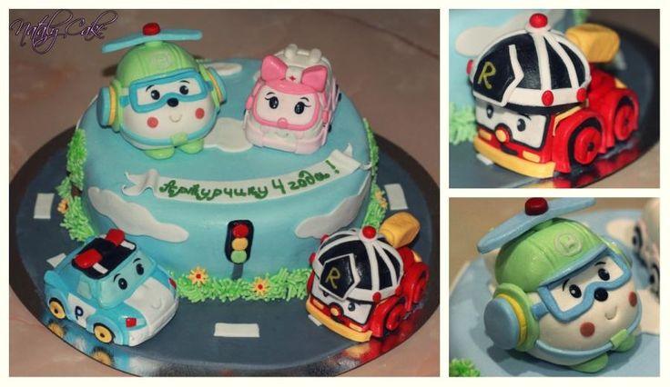 "cake based on the cartoon ""Robocar poli"":)"