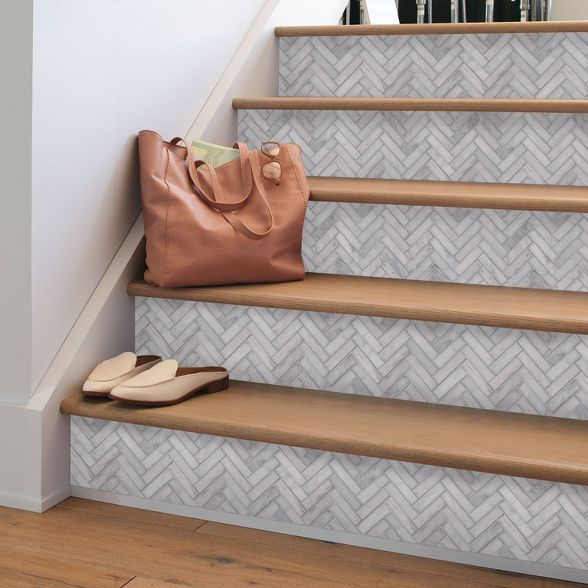 Marble Herringbone Tile Peel Stick Wallpaper Gray Threshold In 2021 Herringbone Tile Marble Herringbone Tile Herringbone Backsplash Kitchen