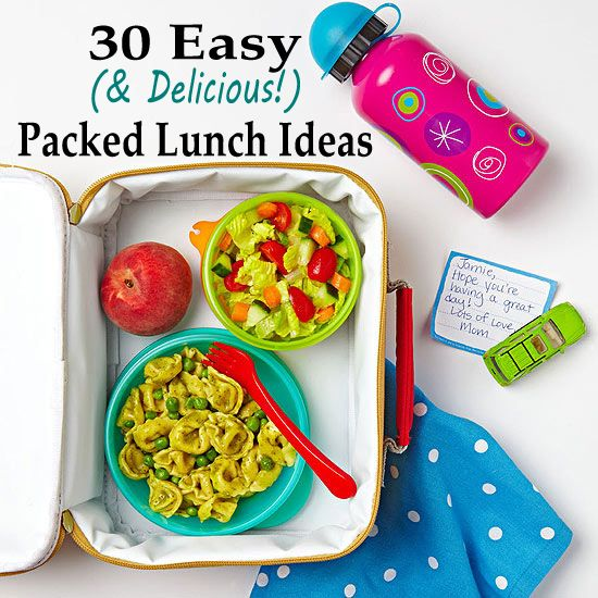 See 30 simple and nutritious packed lunch ideas for your kiddos to bring to school (or you to bring to work!):  http://www.parents.com/recipes/familyrecipes/lunch/celebrity-chef-kid-lunches/?socsrc=pmmpin130201fPackedLunch