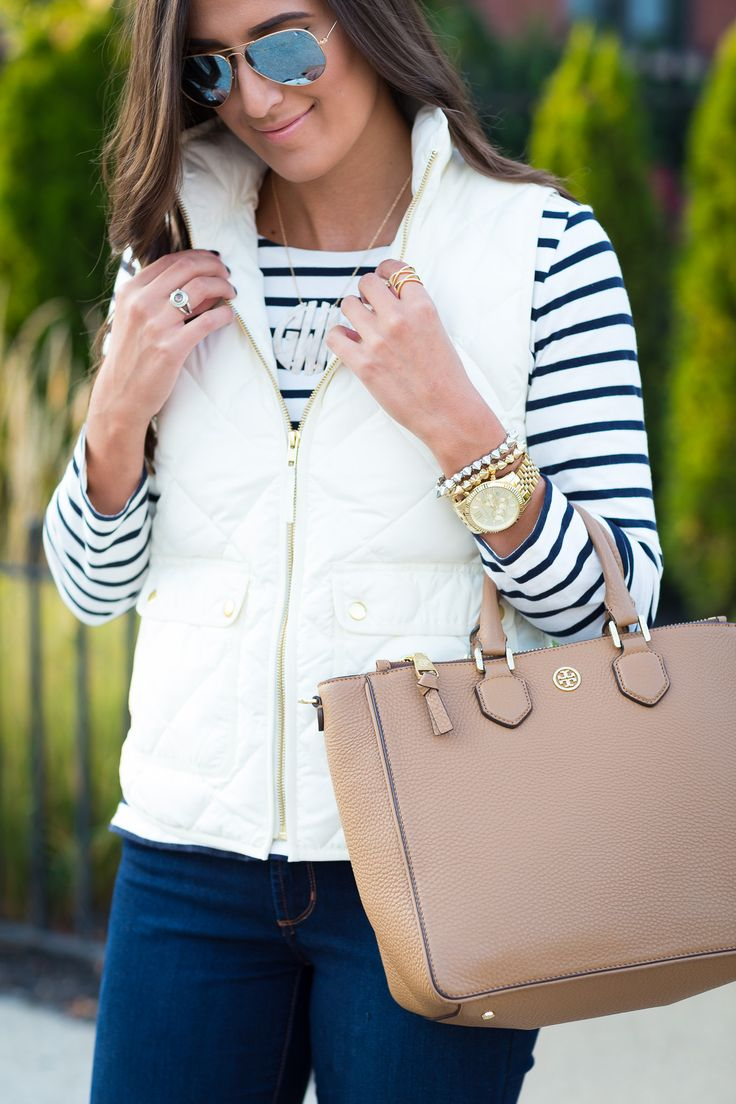 fall outfit ideas, fall outfits, stripe tee, j.crew vest, puffer vest, quilted vest, preppy fall outfits // grace wainwright from a southern drawl