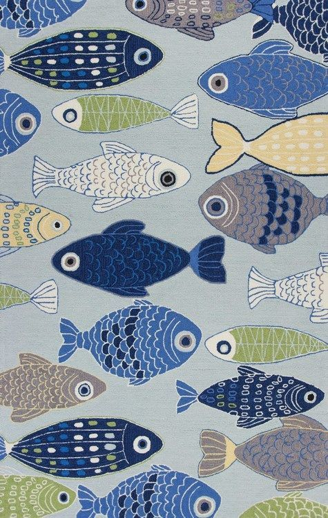 609 best rugs for coastal homes images on pinterest blue for Fish area rug