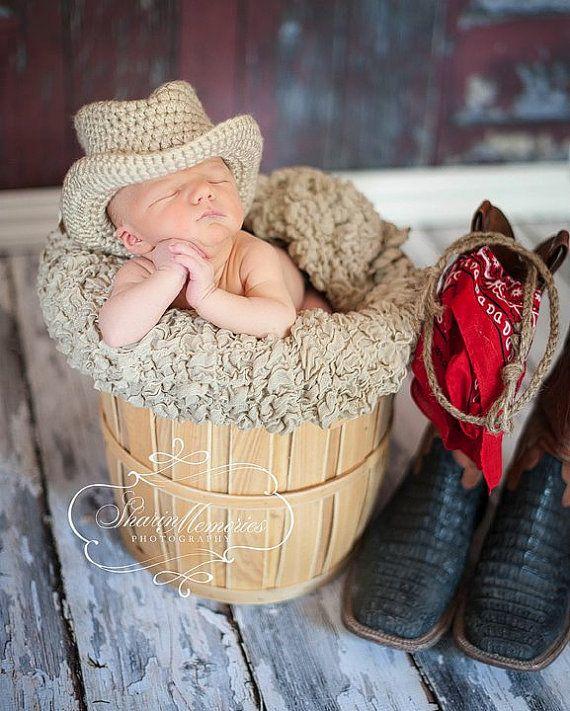 Custom Crochet Cowboy Baby Hat by CricketCreations on Etsy, $24.00  OMG.. adorable!!!!