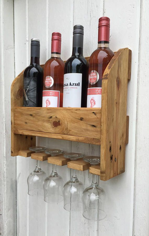 Wall Mounted Wine Rack 4 Bottles 4 Glasses In 2019 Kitchen