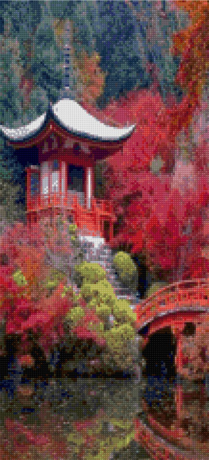 Pagoda and Bridge Cross Stitch pattern Forest landscape PDF - Instant Download! by PenumbraCharts on Etsy