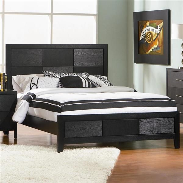 Grove Casual Black Wood King Panel Bed