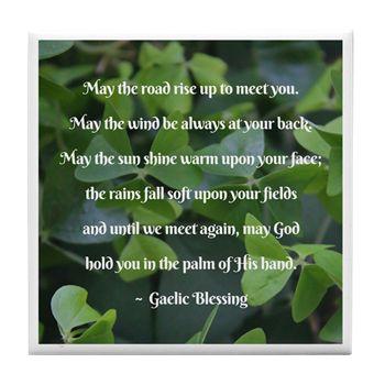 Shamrocks Gaelic Blessing Tile Coaster