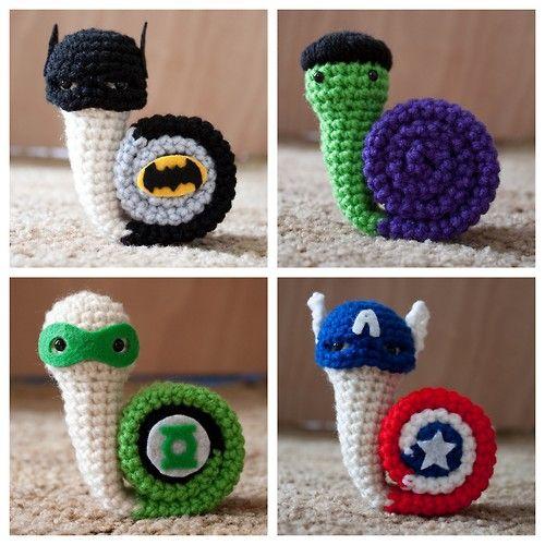 superhero crochet patterns | DIY or Buy. Crochet Superhero Snails by Fallen Designs on Etsy. Fallen ...