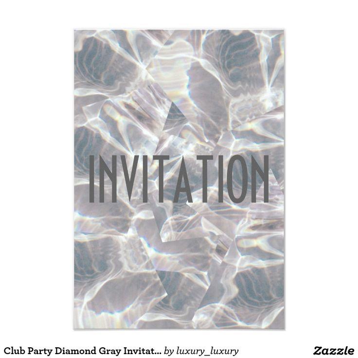 Club Party Diamond Gray Invitation Vip Invitation