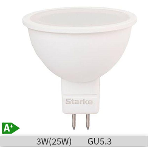 Bec LED STARKE Plus forma spot 3W-25W, GU5.3, 30000 ore, lumina neutra 4000K http://www.etbm.ro/becuri-led