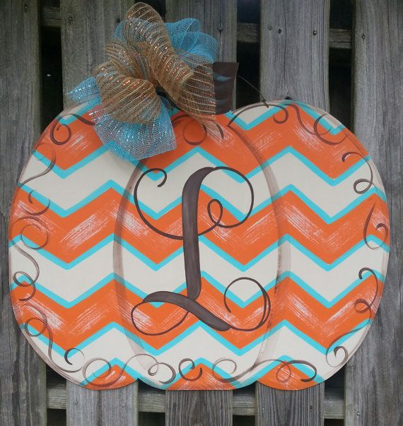 Pumpkin Door Hanger Fall Door Hanger by shabbyandsuchdesigns