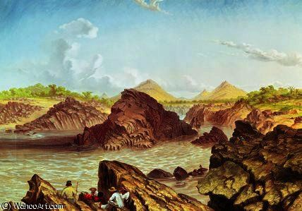 Trois Rapids Canal-dessus Kebrabasa sur le Zambèze de Thomas Baines (1820-1875, United Kingdom)