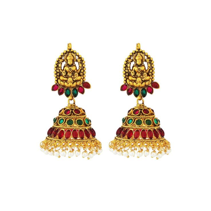 Traditional Gold Plated Temple Stone Red-Green Colored jumka