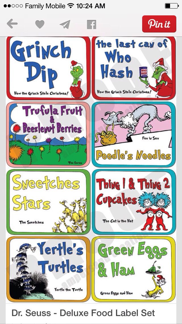 32 best Dr. Seuss Birthday Food Ideas images on Pinterest ...