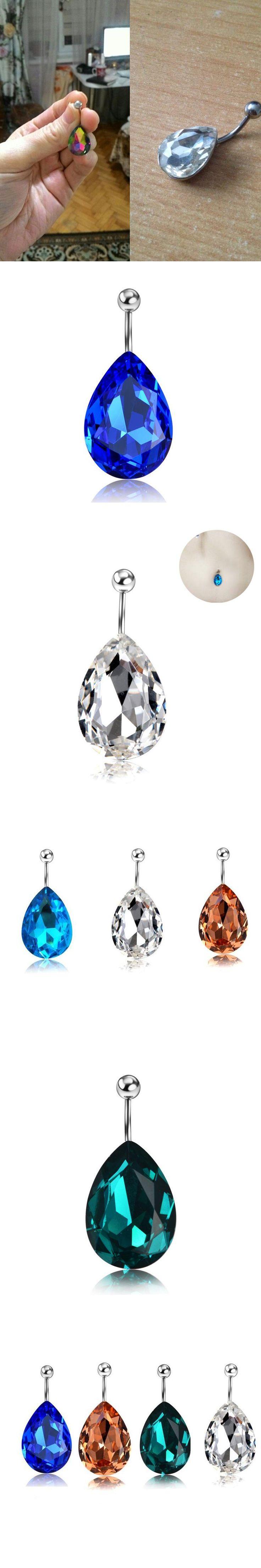 New Logo 16G Water Drop Zircon Navel Piercing Ombligo Earrings Belly Button Rings Body Jewelry Women Beach Accessorys