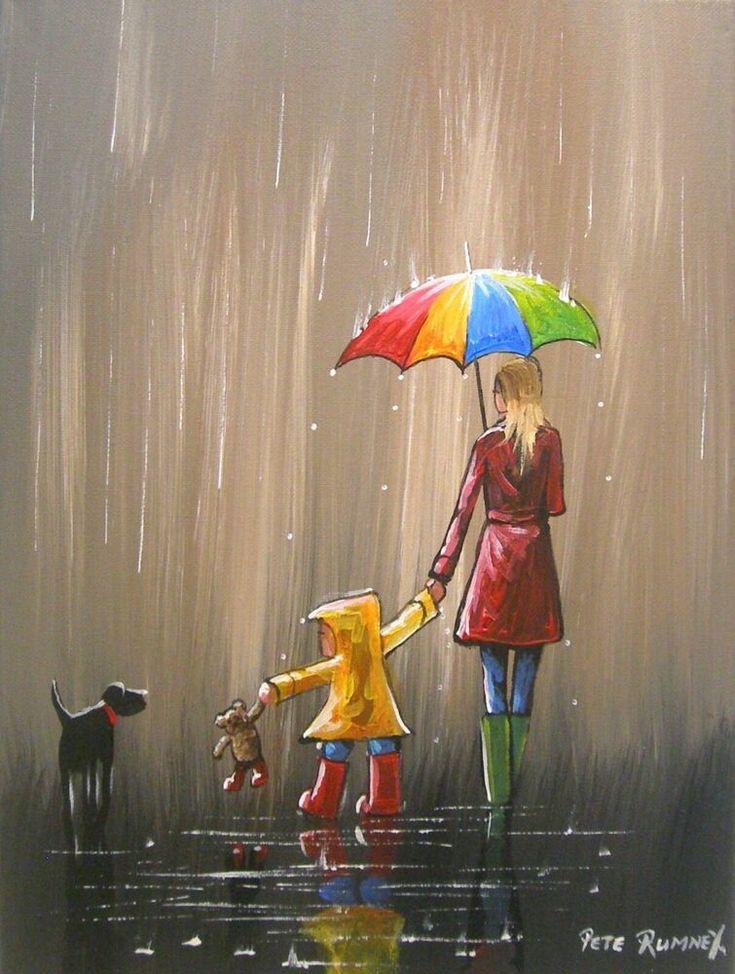 долгое рисунок зонтики под дождем сердитый кот