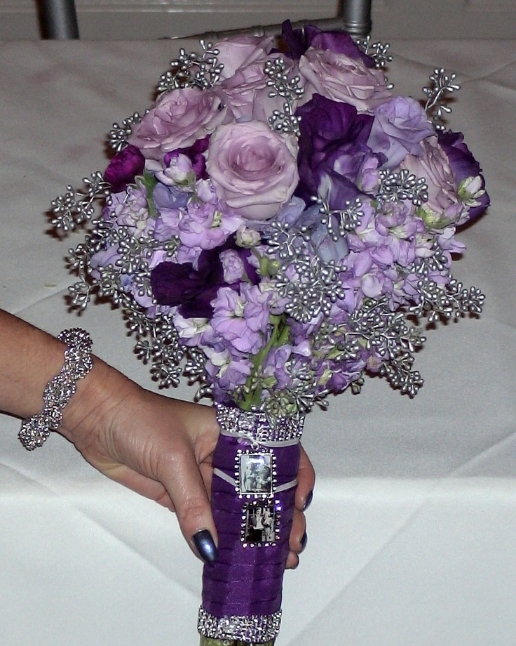 Bridal Bouquet With Silver Accents Lavender Cool Water Roses Purple And Lisianthus